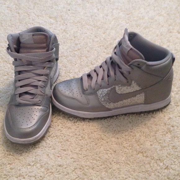 Silver Sparkle Nike High Tops. M 52e28eff21bf8d063f00e5fa 4b38e82b56cc