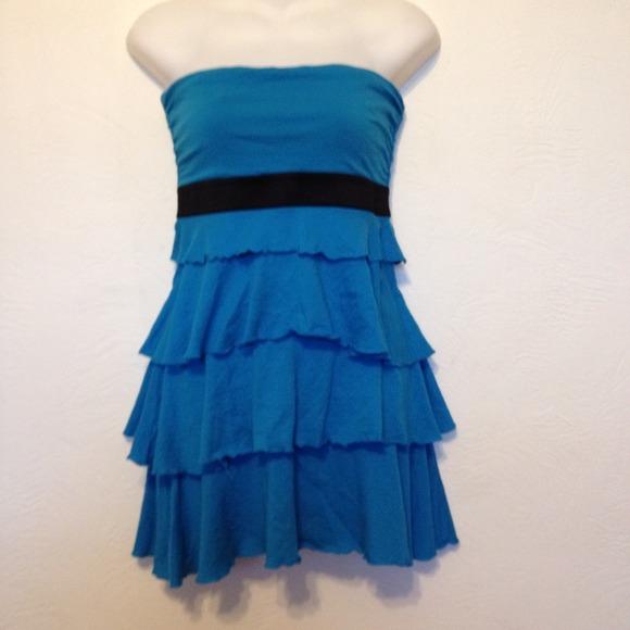 Express Dresses & Skirts - Express blue ruffle strapless dress size small
