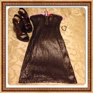 🔴SALE was $40 bebe bronze sequin strapless dress