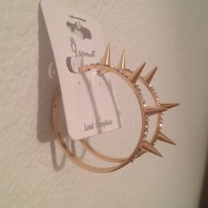 Spiker Stone Hoop Earrings