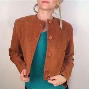 Vintage Cognac Suede Cropped Jacket