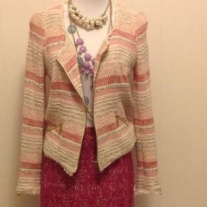 Pink, Red and White Zara Trafaluc Striped Blazer