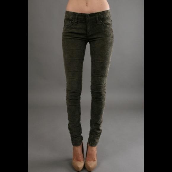khaki corduroy skinny pants - Pi Pants
