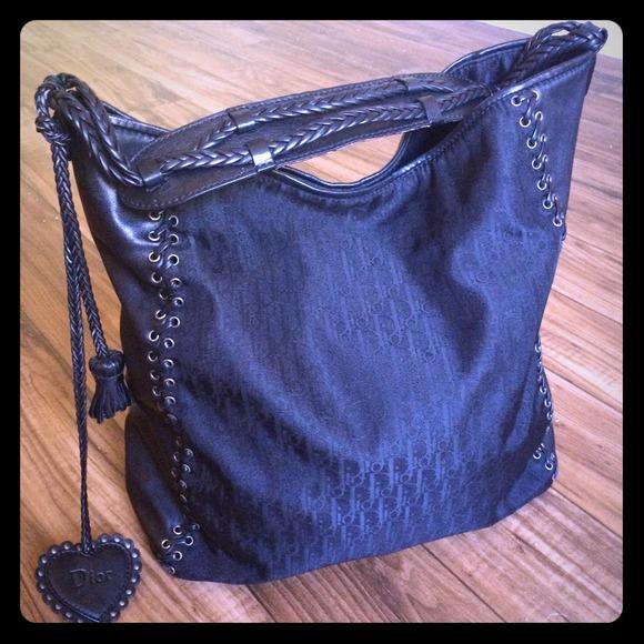 Dior Handbags - Dior Black leather grommet tote nylon bag purse