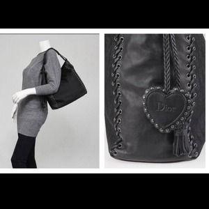 Dior Bags - Dior Black leather grommet tote nylon bag purse