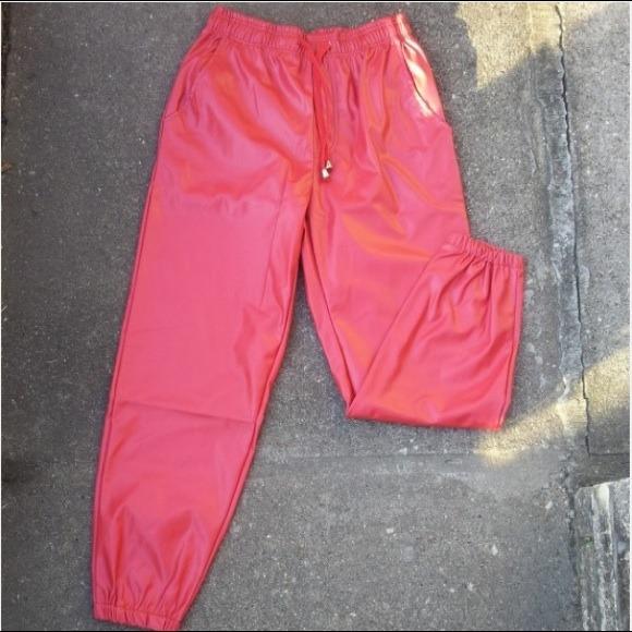Devil red faux leather joggers men & women