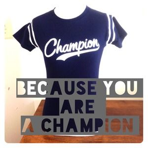 🏁Navy Champion Tee with Bling🏁