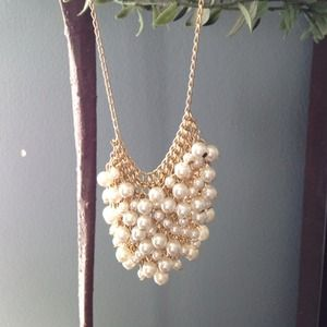 J.Crew mesh pearl necklace