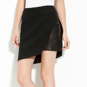 Helmut Lang Leather Panel Ponte Knit Skirt