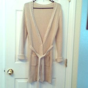 SALE Cream/Beige Ribbed Knit Sweater Coat
