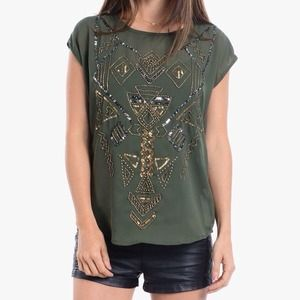 NEW Beaded Chiffon Top in Olive Green