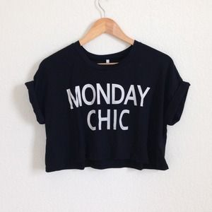 LuLu's Tops - LuLu*s || Monday I'm In Love Black Crop Tee