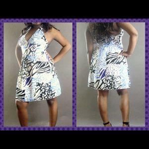Dresses & Skirts - Multi Color Block Zebra Empire Waist Halter Dress
