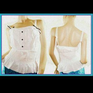 Tops - White 3 Button Cami Peplum Bow Strap Tank plus Top