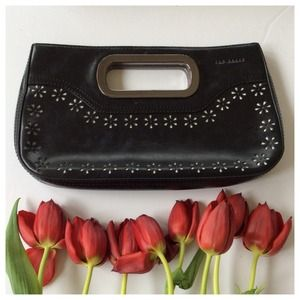 Ted baker black flower clutch