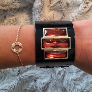 Jewelry - Black gold gem cuff bracelet