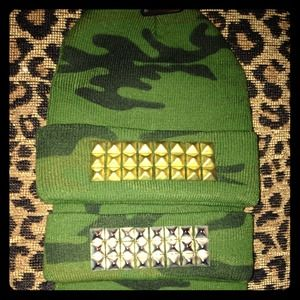 Gold or silver studded camo beanie