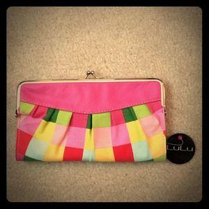 Lulu Clutches & Wallets - Bright Plaid Clutch Wallet NWT