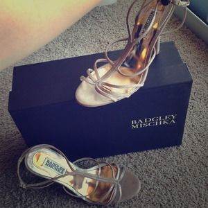 "Badgley Mischka Gold Strappy ""Vivian"" Heels"