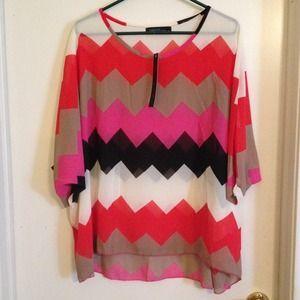 Tops - Way cute Chevron/Aztec sheer pullover