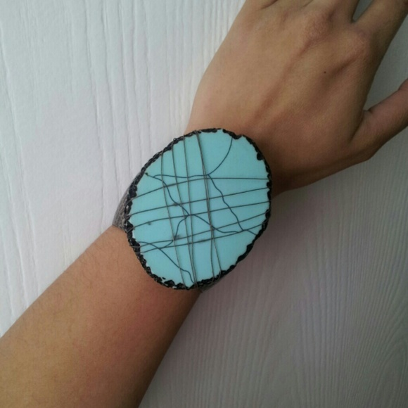 Jewelry | Hold Faux Flat Turquoise Wire Cuff Bracelet | Poshmark
