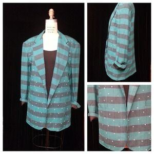 SALE - Vintage Turquoise plaid blazer Size Medium