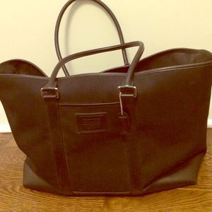 Coach Black Leather/Nylon Weekender Duffle Bag
