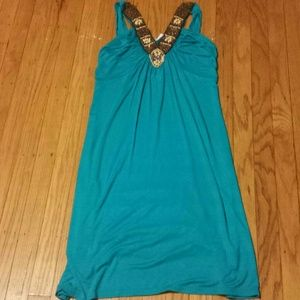 Dresses & Skirts - Turquoise beaded dress