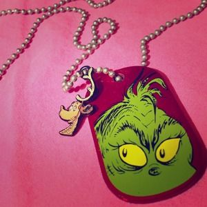 Grinch Dr Seuss universal dog chain tag necklace