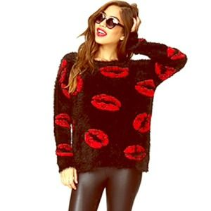 Puckered lips eyelash knit sweater