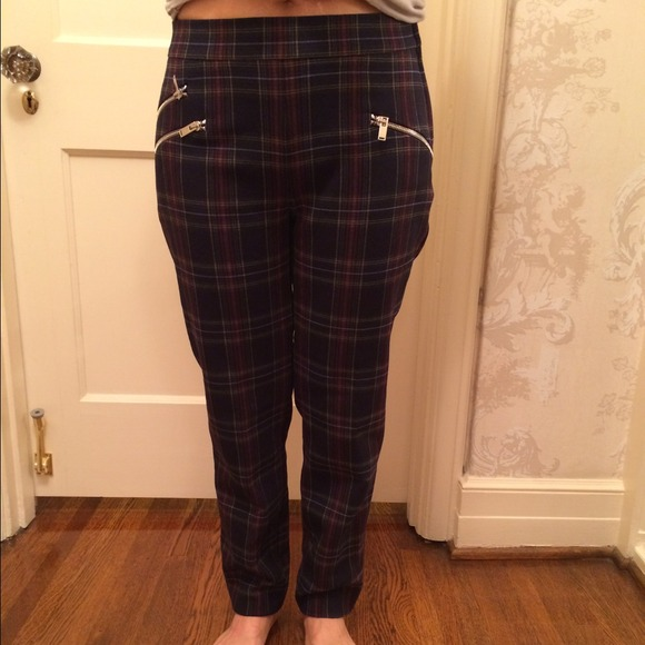 56% off Zara Pants - Brand new Zara plaid trousers with zippers ...
