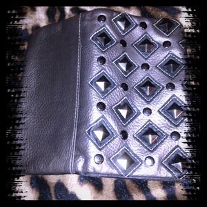 Clutches & Wallets - Grey studded wallet
