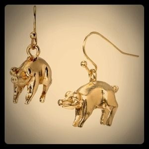 J. Crew Jewelry - J Crew Gold Pig Charm Dangle Hook Earrings NWOT