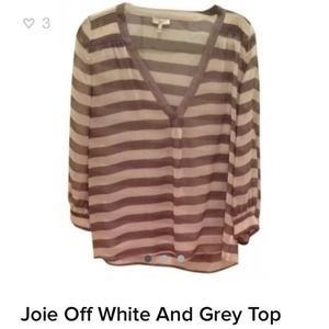 Joie Off White and Grey VNeck Silk Top