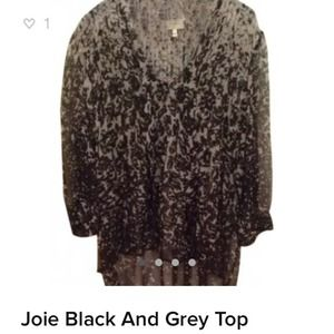 Joie Black and Grey Silk Top with Ties