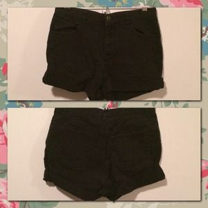 Black High Waisted Denim Shorts