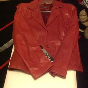 Red full grain real leather jacket