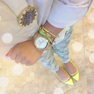 Shoes - Neon Yellow Clear Lucite Panel Pointed Flats