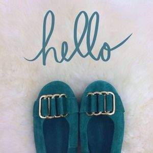 Shoes - Topshop Suede Emerald Green Gold Link Flats