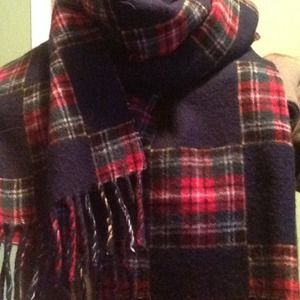 Gap Navy and Plaid Check Wool Scarf