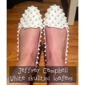 Jeffrey Campbell Shoes - Jeffrey Campbell white skulltini loafers