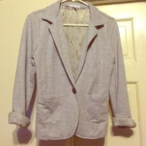 Grey Cotton Blazer with Lace on the Back!!