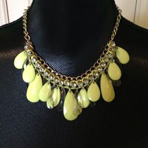Neon yellow and rhinestone statement necklace
