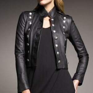 McQueen Alexander McQueen Leather Military Jacket