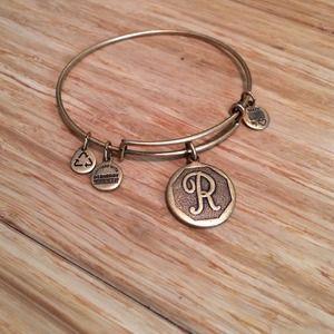 "Alex & Ani letter ""R"" bracelet in gold tone"