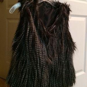 Outerwear - Black & White faux fur vest