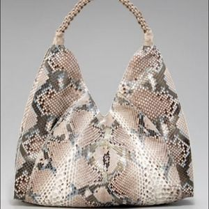 Nancy Gonzalez Ginny Python/Croc Hobo Tan/Blue NWT