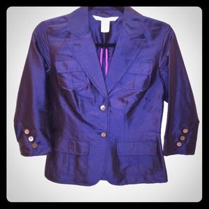 Diane Von Furstenberg navy silk blazer