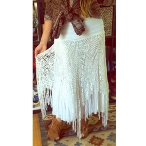White Crochet Beachy Midi Skirt