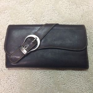 Dior brown leather saddle wallet
